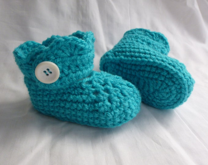 Baby Bootees, Hand Crochet, Handmade, Huggies Type Boottee, Boy or Girl, Aqua Blue, 6 to 9 months