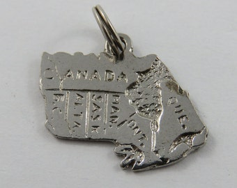 Map of Canada and it's Provinces Sterling Silver Charm of Pendant.