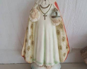 Chippy antique Infant of Prague statue....chalkware.....handpainted