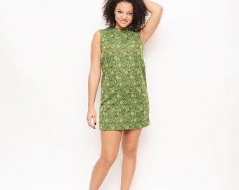 Vintage 60s Shift Dress - Floral, Green, Mod, Twiggy, Medium