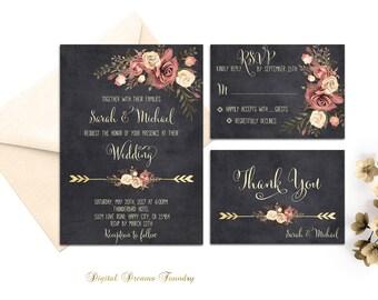 Rustic Floral Wedding Invitation Printable Bohemian Wedding Invitation Suite Chalkboard Wedding Invitation Elegant Fall Wedding Invitation