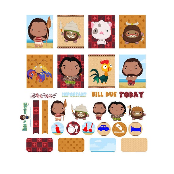 Disney Moana Planners Stickers