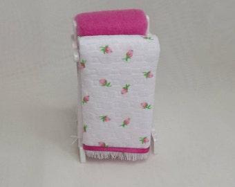 Miniature Dollhouse Quilt-Bedspread Rack. Dollhouse Bedroom Accessories. Handmade Blankets. Dollhouse Quilts. Dollhouse Blankets.