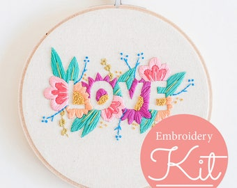 LOVE Embroidery Kit ~ Do it Yourself Embroidery Kit with Pattern