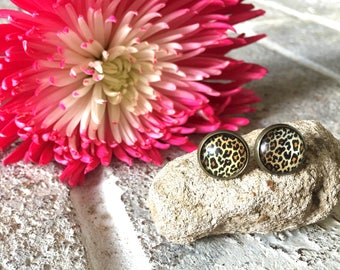 Cheetah earrings, 12mm earrings, sparkle earrings, stud earrings, circle earring, gold earrings, animal print earrings, brown earrings