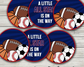 All Star Sports Baby Shower Decorations: Printable Cake Toppers/Party Circles. Printable. Instant Download.