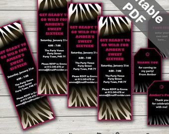 Zebra Party Invitations, Ideal For A Zebra Baby Shower, Bridal Shower, Birthday Or Sweet Sixteen. Editable PDF. Printable. Instant Download.