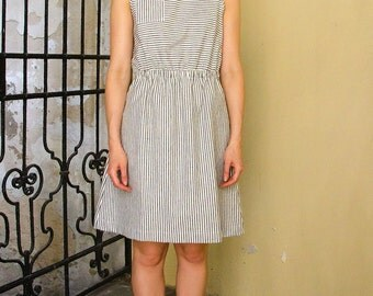Handmade Organic cotton and hemp striped dress for ladies - Women's sleeveless hemp dress - Dress with elastic waist made in Australia