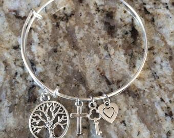 Tree of life charm bracelets, best seller, cross, key, & heart charms, Adjustable bracelet