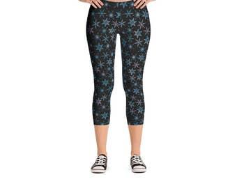 Watercolor Snowflake Leggings - Women's Active Wear Full Length or Capri Pants - Winter Christmas Yoga - Sizes XS to XL - Polyester/Spandex