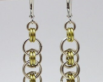Silver Plated Chainmaille Earrings, Silver Earrings, Champagne Earrings, Silver Plated Earrings, Chain Mail Earrings, Chainmail Earrings