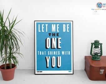 Oasis Slide Away Lyrics - print / art / poster - Song Typography- Britpop