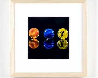 """Reflection of Three Marbles 5""""x5"""" Framed Art Photograph (8""""x8"""" with frame)"""