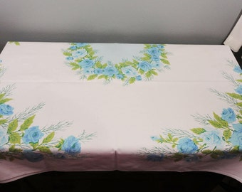 Vintage Rectangular Tablecloth - Blue Roses with Sharp Greenery and Leaves - Blue Center - Gorgeous - 65 x 53