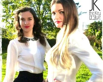 Macrame white collar blouse