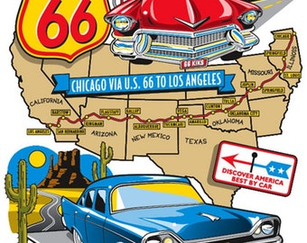 Two 1950s Cars on Route 66 Map T Shirt  Mens T Shirt 3847