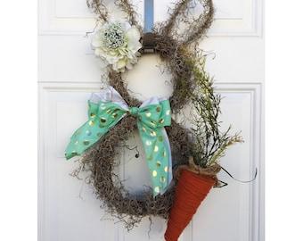 easter bunny wreath, bunny wreath, spring wreath, easter wreath, spring floral wreath, pastel spring wreath, spring grapevine wreath, bunny