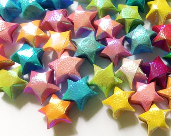 Origami Lucky Stars | Handmade Paper Stars | Iridescent Pastel Rainbow Wishing Star Folded | Thanksgiving Christmas Decoration Confetti ST11