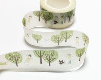 Playground Garden Tree Washi Tape / Green Tree Decorative Tape / Green Tree Masking Tape / Kawaii Washi Tape 10m b05