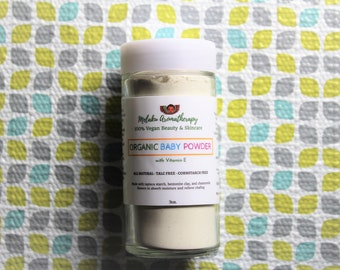 Organic Baby Powder, Natural Body Powder, Vegan Skincare, Talc Free, Corn Starch Free, Tapioca Starch, Lavender, Chamomile, Bath and Body