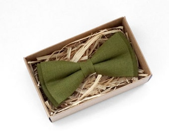 Olive green Bowtie, Green mens bow tie, Green linen bow tie, Wedding Bow Tie, Green Necktie, Green mens tie, grooms green bowtie, skinny tie