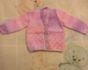 Hand knitted Baby Cardigan and hat set in various shades of pink