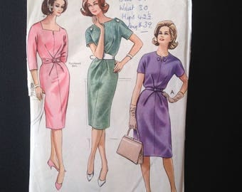 "Style 1278, British 1960s Pattern, Wiggle Dress with Folded Waist Feature, Bust size 36 in.  ""Designed and Made in England"""
