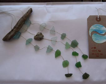 My heart, natural mobile , wall suspension, driftwood and sea glass, hag stone, present for lovers, engagement, wedding decor