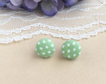 Sage Polka Dot Fabric Stud Earrings, Green Polka Dots, Polka Dot Earrings, Fabric Earrings, Stud Earrings, Button Earrings, Simple Earrings