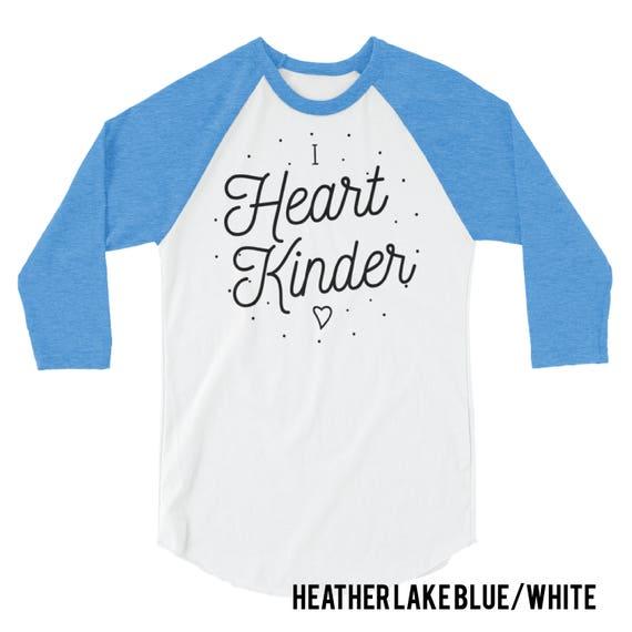 K-6 Teacher Shirt |  I Heart Kindergarten, First, Second, Third, Fourth, and Fifth Sixth Grade 3/4 Sleeve Raglan | Team Shirt
