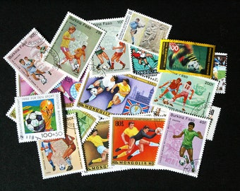 FREE SHIPPING ; 25 Colorful Vintage Worldwide Soccer / Football postage stamps for collecting, crafting, scrapbook pages, collages etc.