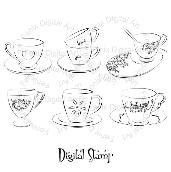 Digital Stamp,Clipart,Line art,Tea cups clipart,Tea cups graphics,Digi stamp,digistamp,Illustration INSTANT DOWNLOAD