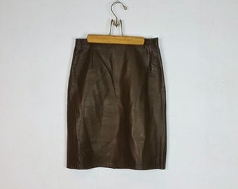 6/7 Vintage Olive Green Leather Pencil Skirt Firenze High Waist Zipper Back Tight Fitted Skirt Knee Length 90s Fashion