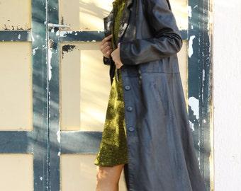 Vintage unique black leather coat.size m