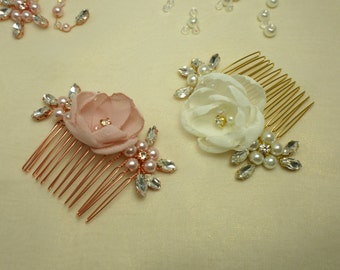 Wedding Hair Comb, Bridal Headpiece, Rose Gold Hair Comb, Wedding Headpiece, Rose Gold Headpiece, Rhinestone Hair Comb, Flower Headpiece