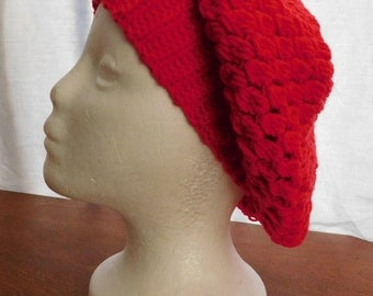 red crochet slouchy hat