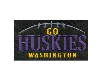"3.76""W  University of Washington Sporty GO HUSKIES & football Embroidery Design  - Instant Digital Download"