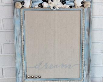 Bulletin Board, Seashell Bulletin Board, Seashells, Beach Decor, Nautical Décor, Coastal Decor, Wall Décor, Cottage Décor, Wall Art, Coral