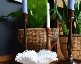 Vintage Fenton Silvercrest White Milk Glass Pedestal Bowl // Ribboned Edge Fenton Bowl // Wedding - Shower Decor