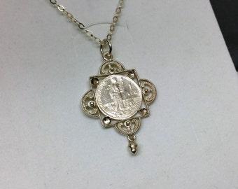 Pendant coin Romania 1 Leu 1911 silver SK1004