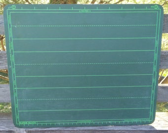 Vintage green chalkboard Super Slate personal size writing board home school play handwriting practice ruled lines World Research Co. 1960's