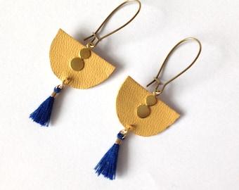 Earrings leather ocher and dark blue pompom