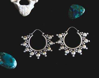 Big Sun White Brass Earrings - Boho - Gypsy - Tribal - Fusion - Original - Design - Festivals - Boom - Spirit - Element - Underground