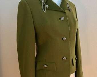 1960's Ralph Creation Military Inspired Olive Green Wool Blazer Jacket- Small
