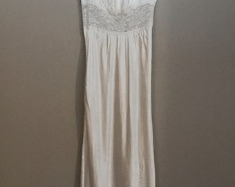 1950's Satin Maxi Slip Gown with Lace Washable- Small