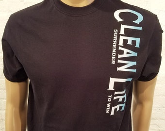 NA - CLEAN LIFE - T-shirt -Black w/ white & blue ink - S-5X -Black - 100% cotton Narcotics Anonymous
