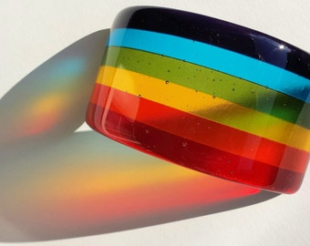 Fused Glass Rainbow Suncatcher or paper weight