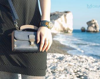 "womens leather shoulder bag, Ladies leather bag ""Blue Moriarty S"", wood bag"
