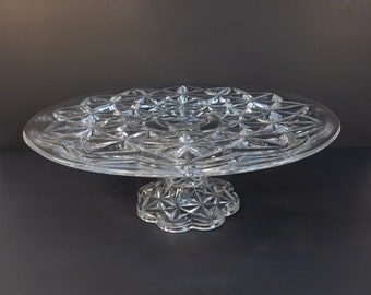 Vintage Glass Pedestal Cake Stand, Cupcake Stand, Wedding Serving