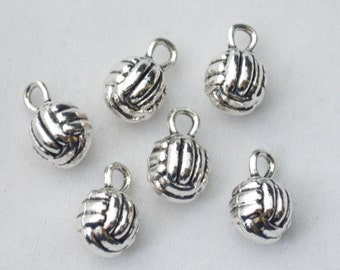 5 Pcs Volleyball Charms Sport Pendants Antique Silver Tone 3D 14x10mm- YD0584